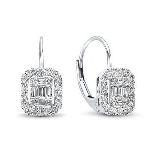 14K Round + Baguette Diamond Mosaic Earrings, 0.5cttw