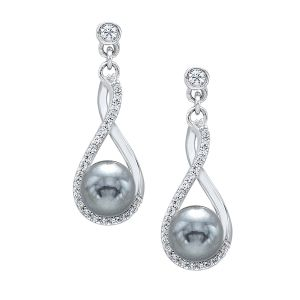 Sterling Silver CZ Infinity Twist Pearl Earrings
