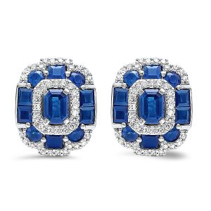 14K Diamond And Sapphire Mosaic Stud Earrings