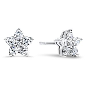Sterling Silver Diamond Five Point Star Earrings