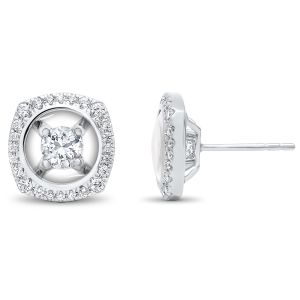 14K Pave Cushion Halo Round Diamond Stud Earrings