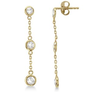 14K Triple Bezel Diamond Station Linear Earrings