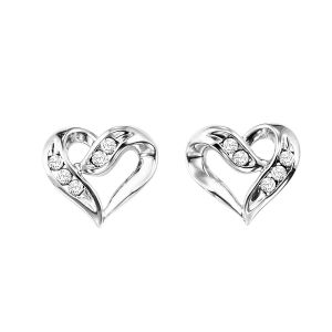 Sterling Silver Ribbon Heart  Diamond Stud Earrings