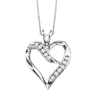 Sterling Silver Ribbon Diamond Heart Pendant