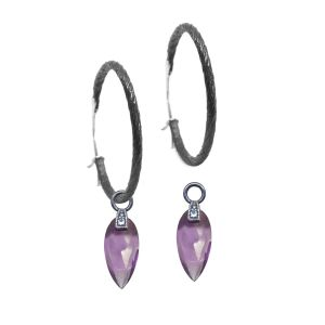 Angel Wings 15mm Amethyst Silver Dangle Earrings