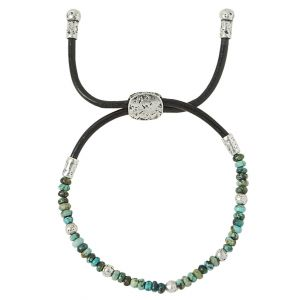 4mm Distressed Bead & African Turquoise Bracelet
