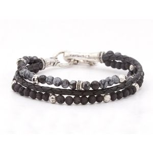 Silver Triple Strand Bracelet With Leather, Gray Obsidian, Lava Beads