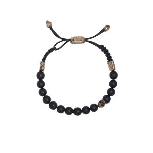 8mm Onyx Bead Bracelet with Skull Ends