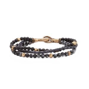 Brass Triple Strand Bracelet With Leather, Gray Obsidian, Onyx  Beads