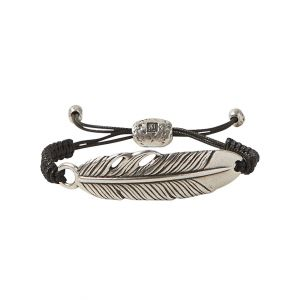 Feather ID Bracelet, Silver Woven Chain