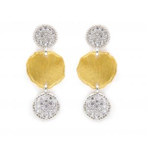 Desert Dream White Yellow 3 Disc Dangle Earring