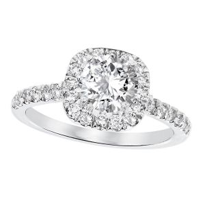 Platinum Cushion Diamond Halo Ring Setting, 0.5cttw