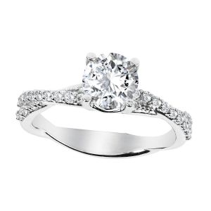 Platinum Diamond Twist Solitaire Ring Setting, 0.3cttw