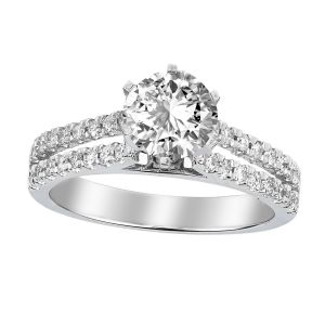 Platinum Double Row Diamond Solitaire Ring Setting, 0.5cttw