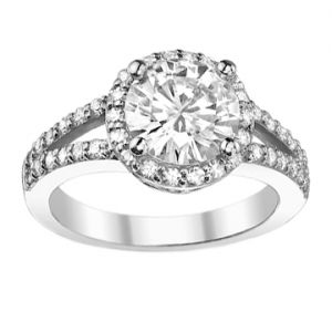 Platinum Split Shank Diamond Halo Ring Setting, 0.58cttw