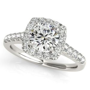 Platinum Cushion Diamond Halo Ring Setting, 0.58cttw