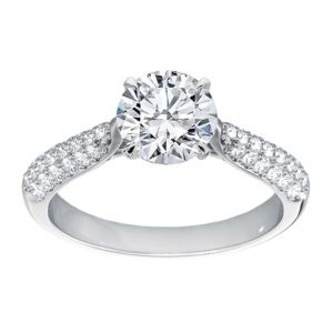 Platinum Three Row Diamond Pave Ring Setting, 0.2cttw