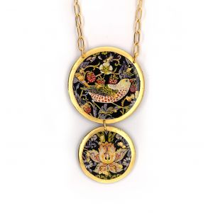 Strawberry Thief Double Drop Necklace