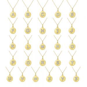 14k Gold and Diamond Uppercase Mini Disc Initial Necklace