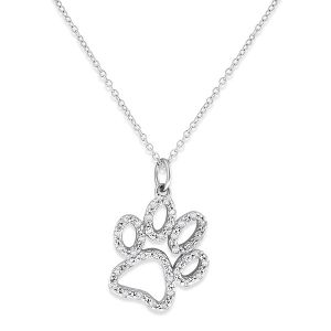 14k Gold and Diamond Paw Print Necklace, Large