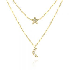 14k Gold and Diamond Star and Moon Necklace