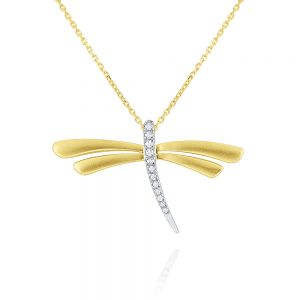 14k Gold and Diamond Dragonfly Necklace, Large