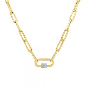 14k Gold and Diamond Charm Holder on Paperclip Chain