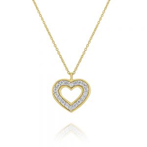 14k Gold and Diamond Open Heart Necklace