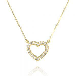 Romantic 14k Gold and Diamond Open Heart Necklace