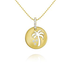 Gold and Diamond Palm Tree Necklace