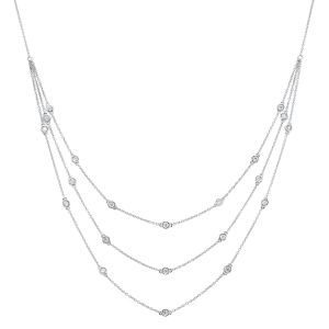 Sterling Silver Draped Diamond Station Necklace