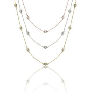 "14K Fancy Bezel Diamond Station 18"" – 36"" Necklace, 0.25 – 0.5cttw"