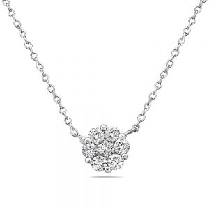 14K Diamond Cluster Solitaire Necklace