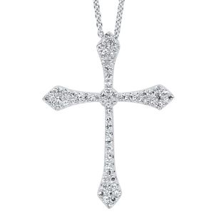 14K Pave Diamond Cross Pendant