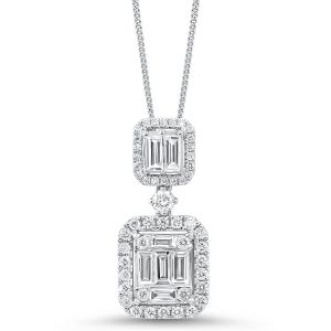 14K Statement Mosaic Double Decker Diamond Pendant