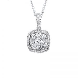 14K Cushion Shaped Cluster Diamond Pendant, 0.75cttw