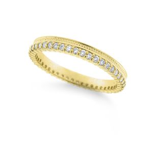 14k Gold and Diamond Charming Stack Ring with Single Milgrain Edge