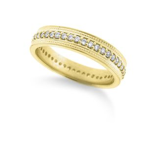 14k Gold and Diamond Stack Ring with Double Milgrain Edge