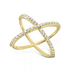 Diamond Contemporary X Ring Set in 14k Gold