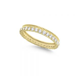 14k Gold and Diamond Stack Ring with Single Milgrain Edge