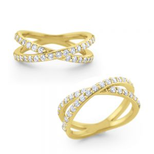 Diamond X Ring Set in 14 Kt. Gold