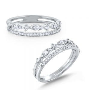 Diamond Double Line Miracle Marquise Band Set in 14 Kt. Gold