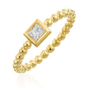 Nutmeg Stackable Princess Cut Ring