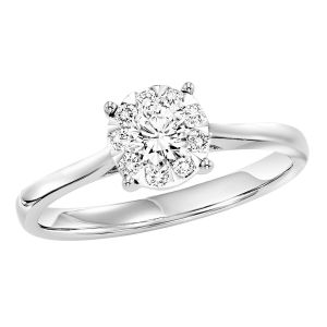 14K Fluted Cluster Diamond Solitaire Style Ring, 0.25cttw