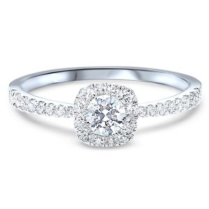 14k White Gold Single Pave Band Diamond Halo Ring