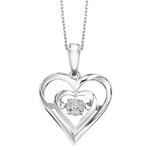 Sterling Silver Heart in Heart Diamond Pendant