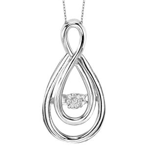 Sterling Silver Double Love Knot Infinity Diamond Pendant