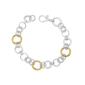 Hoopla Silver Bracelet, 'kissed' with 24k Gold, Chain with Gold and Silver Links