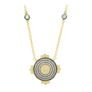 Signature Round Pave Disc Pendant, Gold & Black