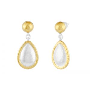 Amulet Silver Drop Earrings, pear, frame 'kissed' with 24k Gold